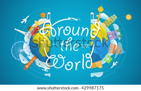 Travel vector illustration. Around the world concept. - stock vector