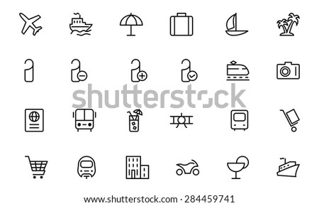 Travel Vector Line Icons 1 - stock vector