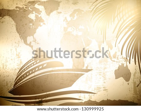 Travel Vintage Background With Cruise Ship Over Map and Palm Leaves - stock vector
