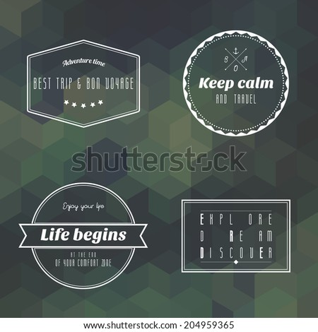 travel vintage label on green camouflage geometry background vector