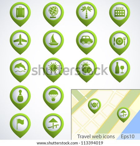 Travel web buttons set with map. Vector illustration. - stock vector