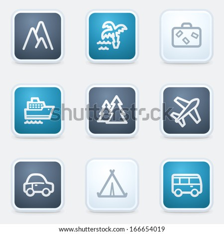 Travel web icon set 1, square buttons - stock vector