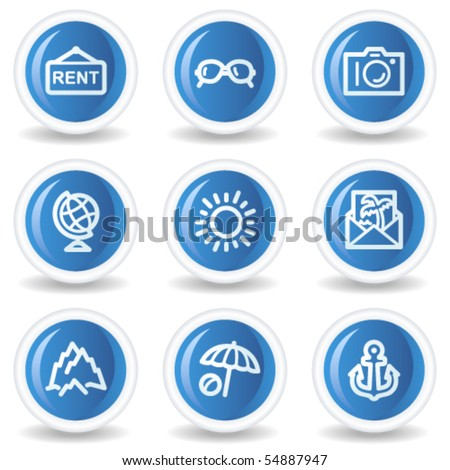 Travel web icons set 5, blue glossy circle buttons - stock vector