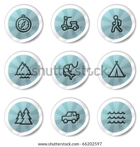 Travel web icons set 3, blue shine stickers series - stock vector