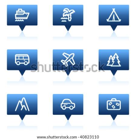Travel web icons set 1, blue speech bubbles sticker series - stock vector
