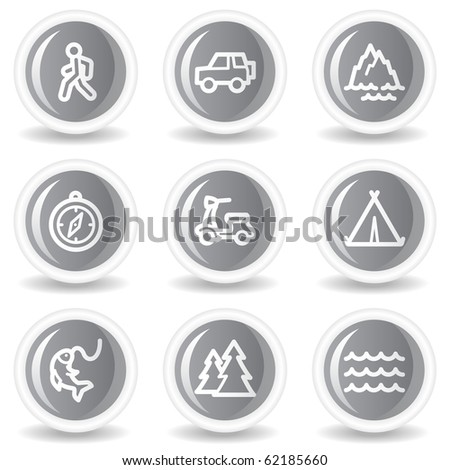 Travel web icons set 3, circle grey glossy buttons - stock vector