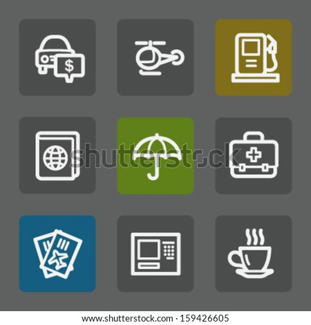 Travel web icons set 4, flat buttons