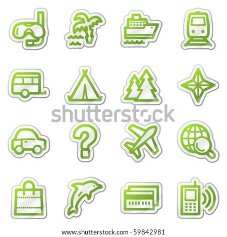 Travel web icons set 2, green contour sticker series - stock vector
