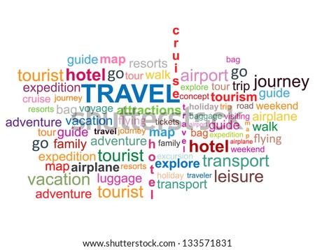 Travel Word Cloud - stock vector