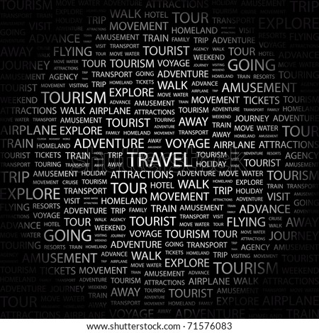 TRAVEL. Word collage on black background. Vector illustration. Illustration with different association terms.