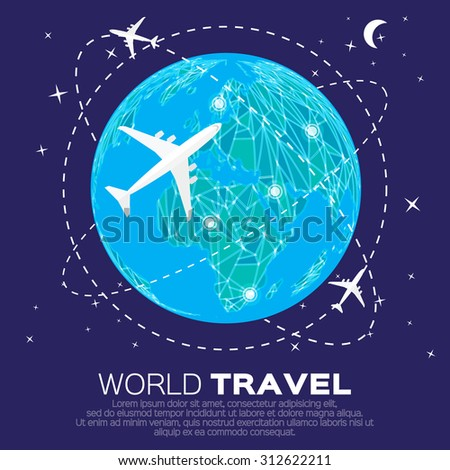 Travel World map background in polygonal style with top view airplane. Vector illustration design. - stock vector