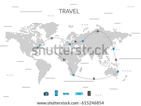 travel world map vector illustration
