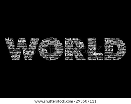 Travel WORLD Word collage. Illustration with different world city names - stock vector