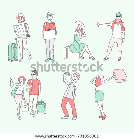 traveler line hand drawing style character vector illustration flat design