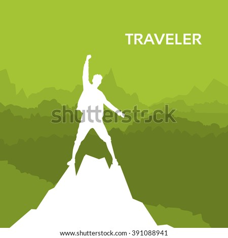 Traveler Man Silhouette Rock Climber Stand On Top Mountain Peak Green Background Vector Illustration - stock vector
