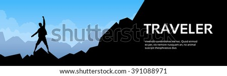 Traveler Man Silhouette Stand On Mountain Rock Empty Copy Space Vector Illustration - stock vector