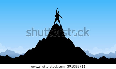 Traveler Man Silhouette Stand Top Mountain Rock Peak Climber Empty Copy Space Vector Illustration - stock vector