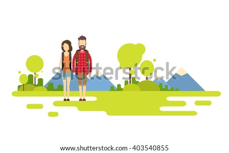 Traveler Man Woman, Couple Outdoor Hiking Over Mountain Background Banner Copy Space Vector Illustration - stock vector