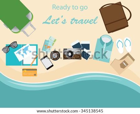 Traveler's suitcase, camera, plane ticket, passport, compass, travel vacations conceptual vector illustration. - stock vector