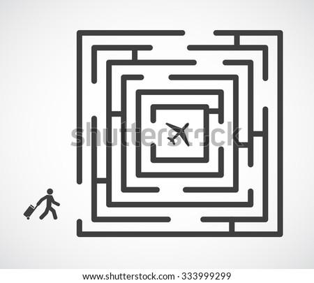 traveler with maze finding way - stock vector