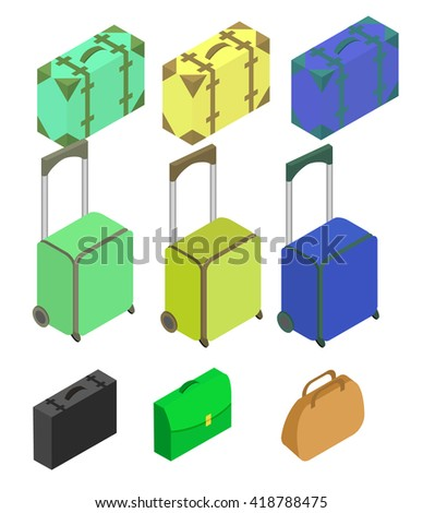 Travelers suitcases. The objects are isolated against the white background. Suitcase, large polycarbonate suitcase. Travel plastic suitcase with wheels realistic. Flat 3d  - stock vector