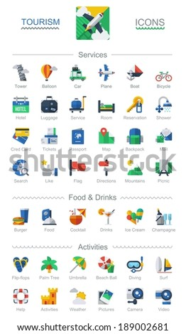 Traveling and tourism icons - stock vector