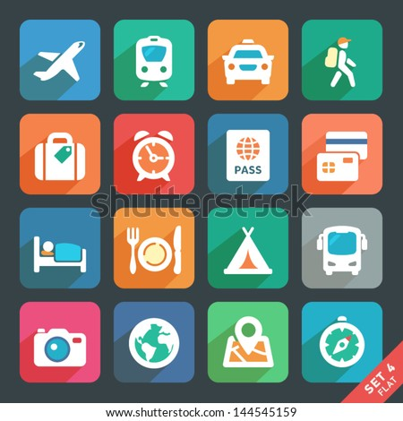 Traveling and transport Flat icons for Web and Mobile Applications - stock vector