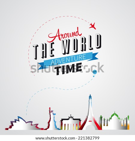 Traveling around the world and a few important landmarks from all over the world. vector symbols with main headline text - stock vector