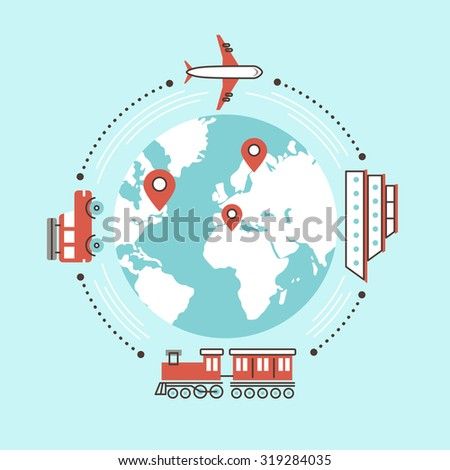 traveling around the world by different transportation in flat design - stock vector