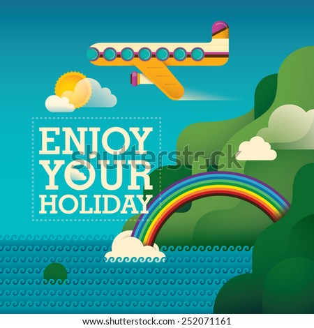 Traveling background with airplane. Vector illustration. - stock vector