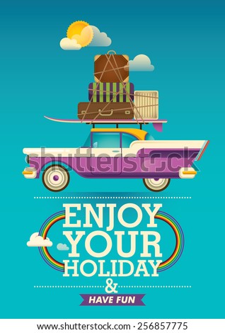 Traveling background with retro car. Vector illustration. - stock vector
