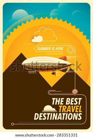 Traveling background with zeppelin. Vector illustration. - stock vector