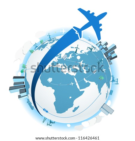 Traveling by a plane. Vector illustration - stock vector