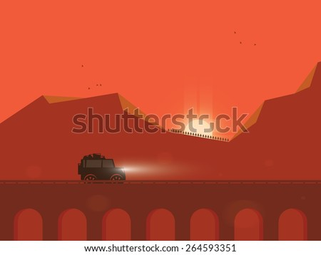 Traveling by adventure car while sunset - stock vector