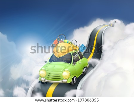 Traveling by car in the clouds, vector background - stock vector