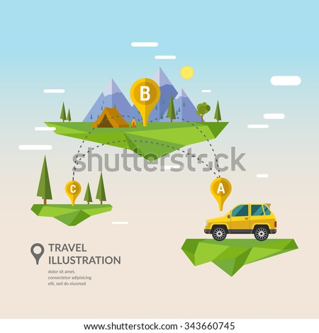 Traveling By Car. Vector Illustration. - stock vector
