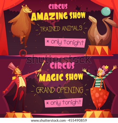 Traveling circus amazing show 2 retro cartoon style horizontal banners set with clown and magician isolated vector illustration  - stock vector