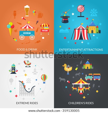 Traveling circus amusement park attractions with drinks and snacks 4 flat icons composition square abstract isolated vector illustration - stock vector