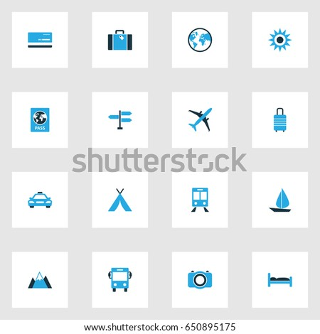Traveling Colorful Icons Set. Collection Of Taxi, Sail, Bank Card And Other Elements. Also Includes Symbols Such As Train, Plane, Sunny.