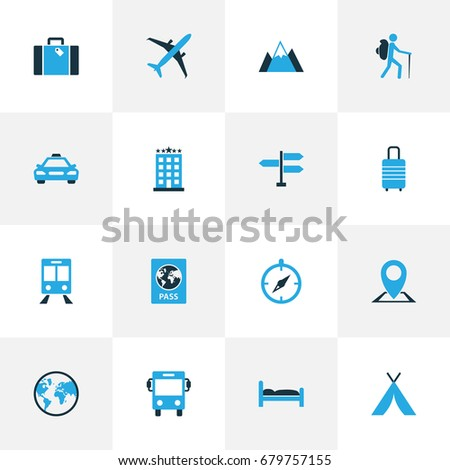 Traveling Colorful Icons Set. Collection Of Train, Suitcase, Compass And Other Elements. Also Includes Symbols Such As Building, Navigation, Railway.
