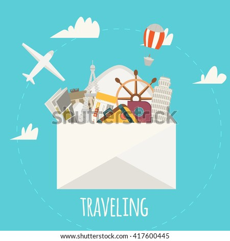 Traveling concept illustration of world famous monuments with travel elements in envelope - stock vector