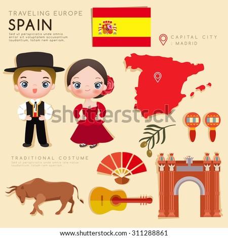 Traveling Europe : Spain Flat Icon Set : Vector Illustration - stock vector
