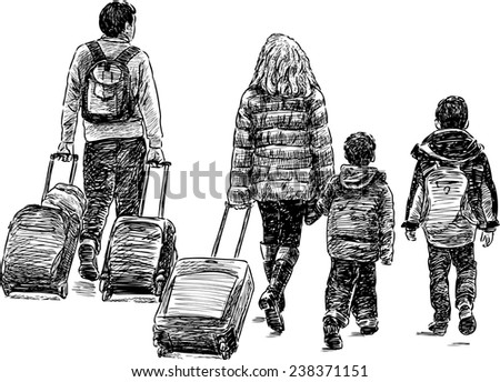 traveling family - stock vector