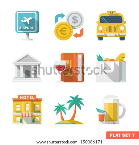 Traveling Flat Icons 1 - stock vector