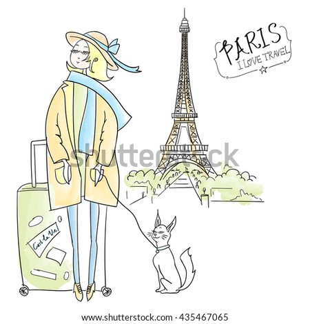 traveling girl in Paris hand drawn