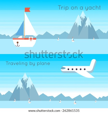 Traveling on airplane and yacht. 2 banners. Flat design vector illustration. - stock vector