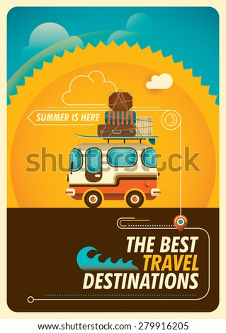 Traveling poster with van. Vector illustration. - stock vector