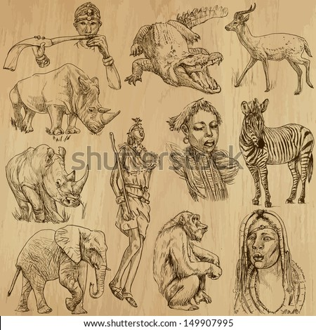 Traveling series: AFRICA - Collection of an hand drawn, original illustrations (no tracing !!). Description: Each drawing comprise of two layers of outlines, colored background is isolated. - stock vector
