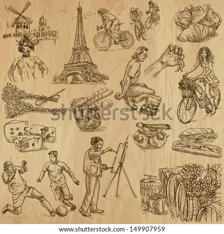 Traveling series: FRANCE - Collection of an hand drawn, original illustrations (no tracing !!!). Description: Each drawing comprise of two layers of outlines, colored background is isolated.