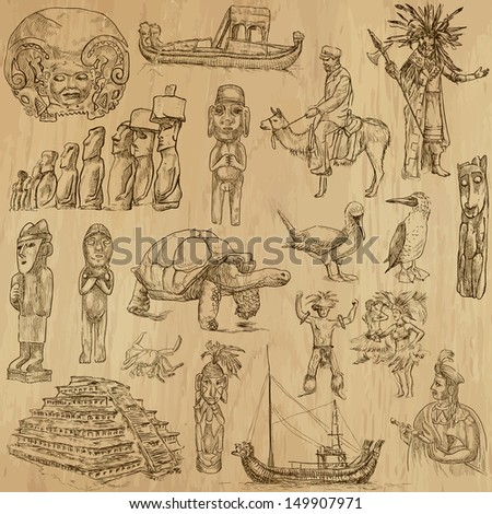 Traveling series: SOUTH AMERICA 1 - Collection of an hand drawn, original illustrations (no tracing !!!). Description: Each drawing comprise of two layers of outlines, colored background is isolated. - stock vector